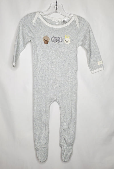 Purebaby Organic Growsuit, Grey, size 6m-12m