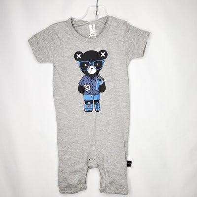HUX Shorty Romper Bear, Grey/Blu, size 6m-12m