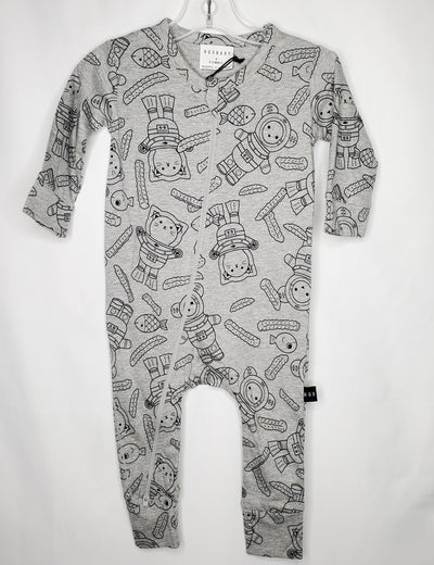 HUXBABY Romper Fries, Grey, size 6m-12m