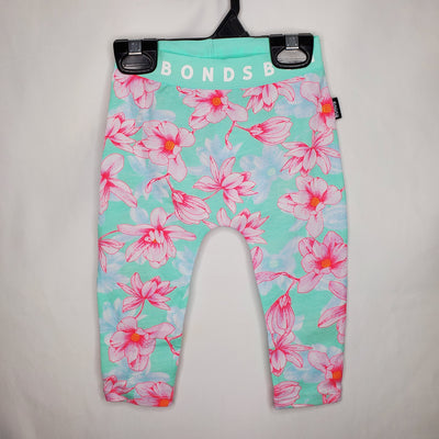 BONDS Leggings Floral, Mint, size 0-3m