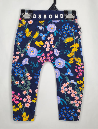 BONDS Leggings Floral, Blue, size 0-3m