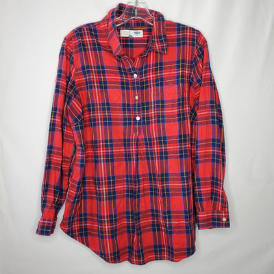 Old Navy Plaid Tunic Top, Red, size Medium