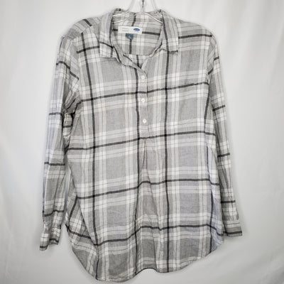 Old Navy Plaid Tunic Top, Grey, size Medium
