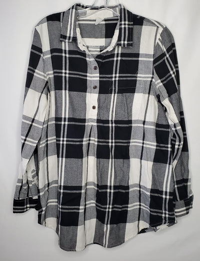 Old Navy Plaid Tunic Top, Blk Whit, size Medium
