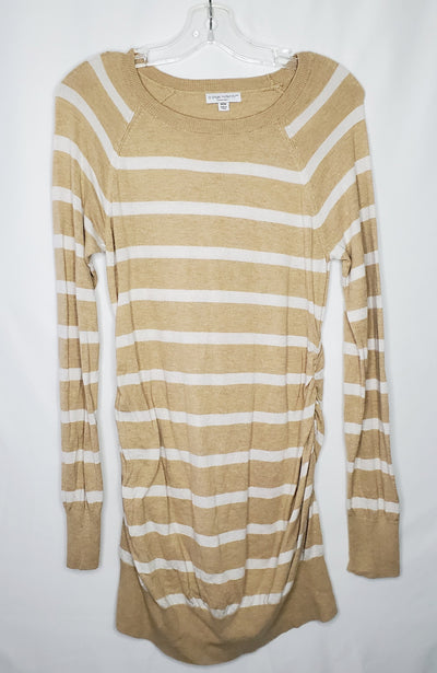 Liz Lange Stripe Knit Tun, Tan Whit, size Medium