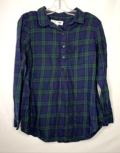 Old Navy Plaid Tunic Top, Blue Grn, size Medium