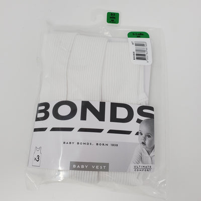 BONDS 3 Pack Undershirt, White, size 0-3m