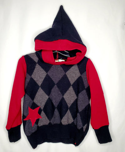Banbutsu Wool Sweater, Red/grey, size 6/7?