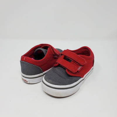 Vans Velcro Shoes, Red/gry, size 5