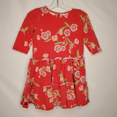 Tea Floral Dress, Red, size 5