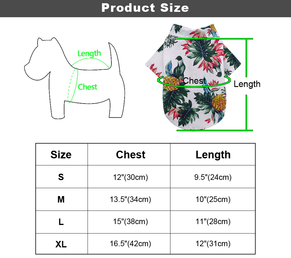 Tropical Themed Button Up Dog Or Cat Shirt