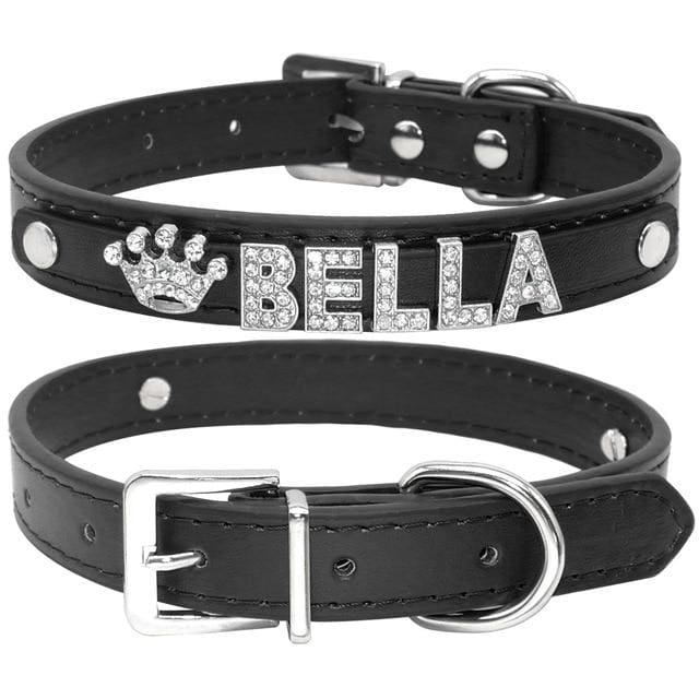 Blingy Custom Leather Dog/Cat Collar - Black / S