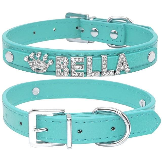 Blingy Custom Leather Dog/Cat Collar - Blue / S