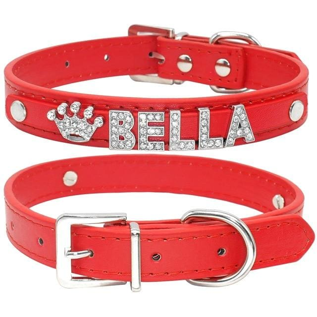 Blingy Custom Leather Dog/Cat Collar - Red / S
