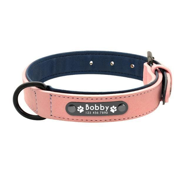 BUNDLE - 2 x Personalized Leather Pin Buckle Dog Collar + Strong Nylon Double Dog Lead