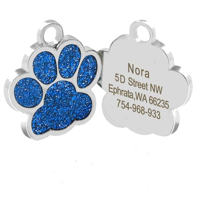 Dog/Cat Personalized Glitter Pendant - Blue Paw / S