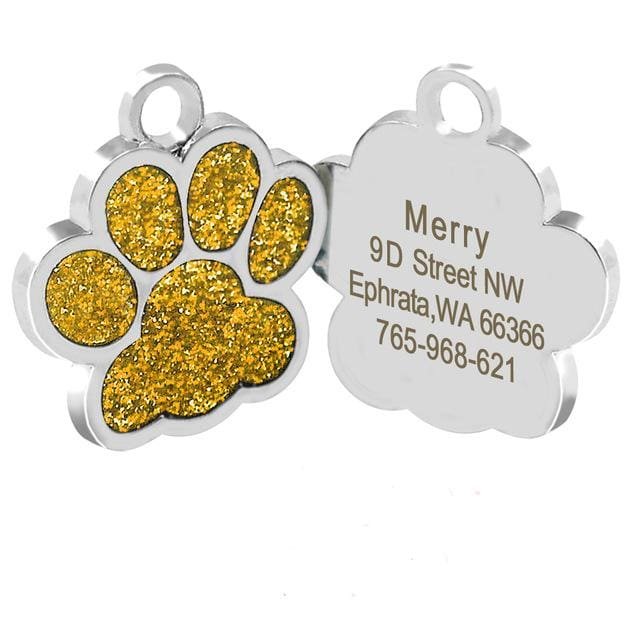 Dog/Cat Personalized Glitter Pendant - Gold Paw / S