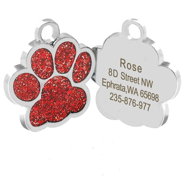 Dog/Cat Personalized Glitter Pendant - Red Paw / S