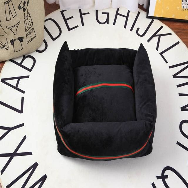 Guccci Inspired Dog Bed - Black / 40x30cm