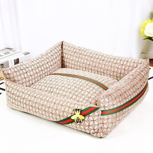 Guccci Inspired Dog Bed - coffee / 40x30cm