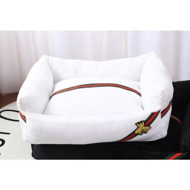 Guccci Inspired Dog Bed - white / 40x30cm