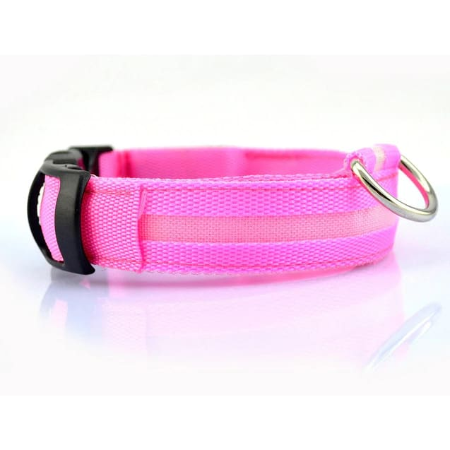 LED Glow In The Dark Dog Safety Collar - Pink / S