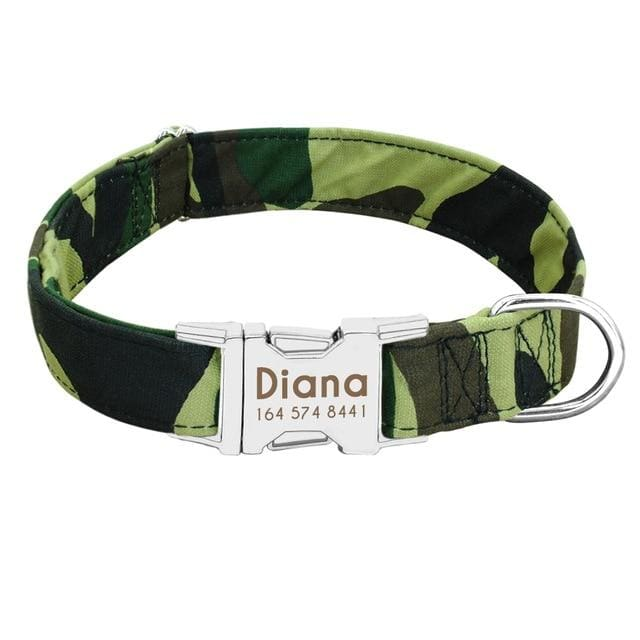 Personalized Dog Collar with metal buckle - Green 1 / L