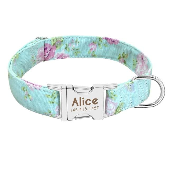 Personalized Dog Collar with metal buckle - Green / L
