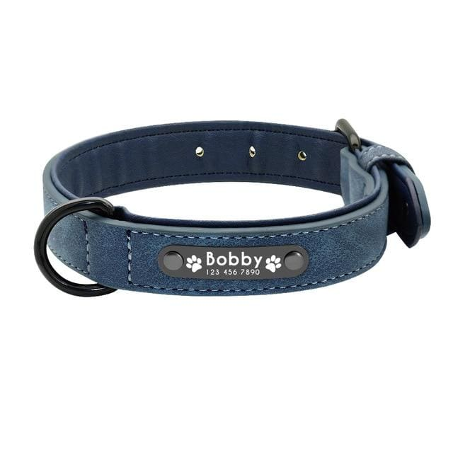Personalized Leather Pin Buckle Dog Collar - Blue / S