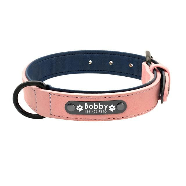 Personalized Leather Pin Buckle Dog Collar - Pink / S
