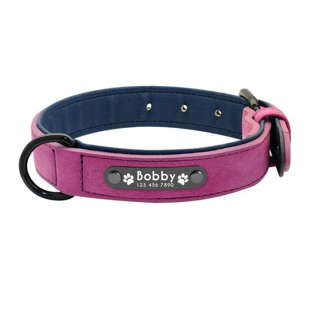 Personalized Leather Pin Buckle Dog Collar - Purple / S