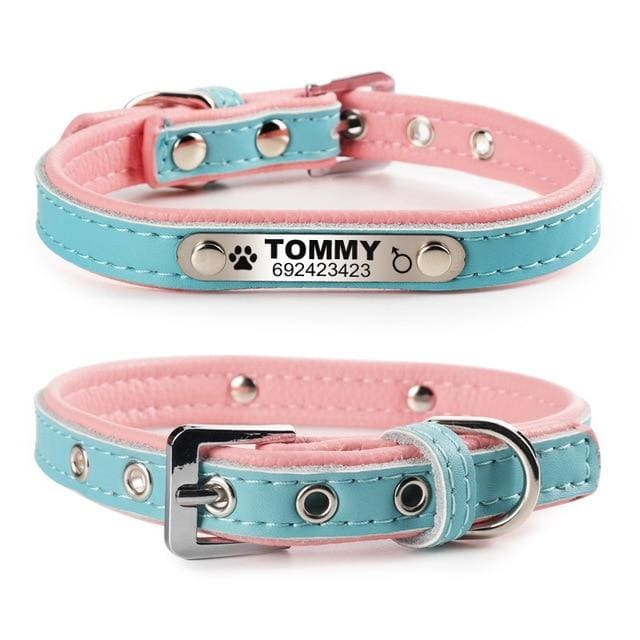 Personalized Leather Pin Buckle Dog/Cat Collar - Blue / L