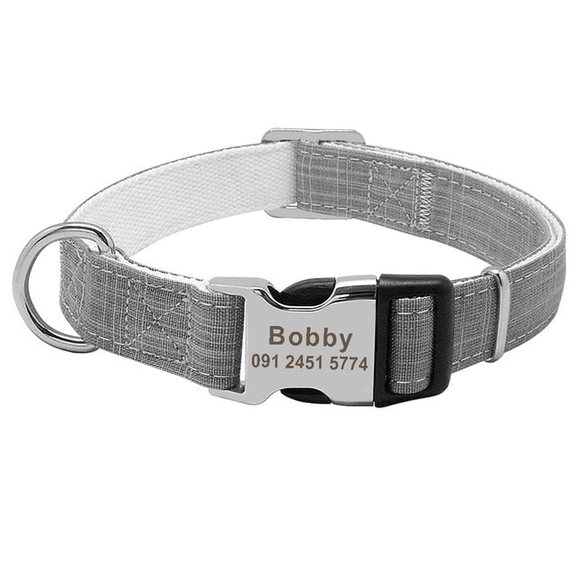 Adjustable Matte Nylon Collar with Engraved Metal Buckle