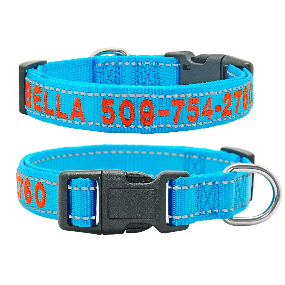 Embroidered Personalised Dog Collar with Reflective Stitching