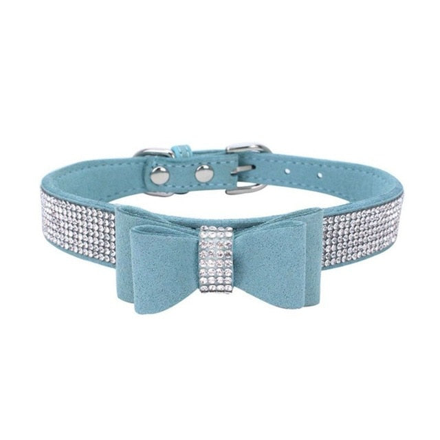 Rhinestone Dog or Cat Bow Suade Collar