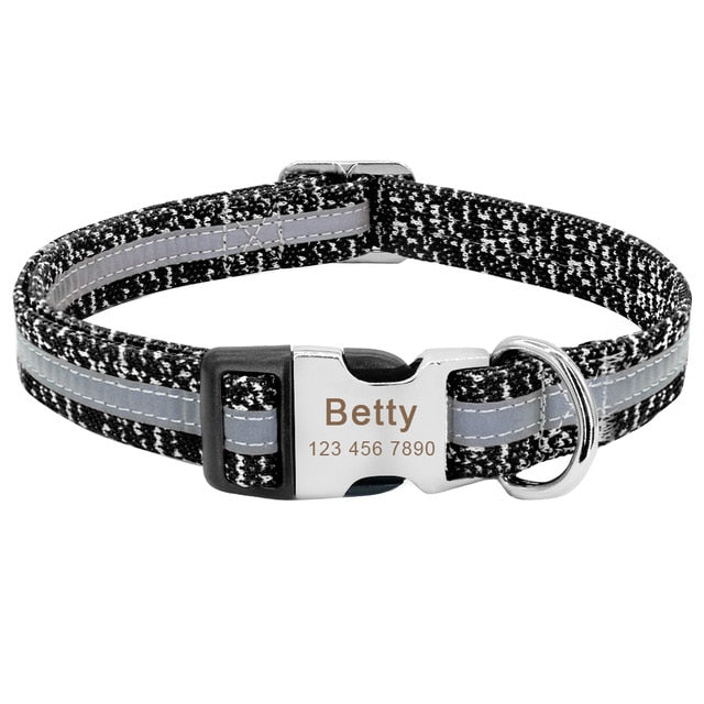 Personalised Reflective Collar with Engraved Metal Buckle