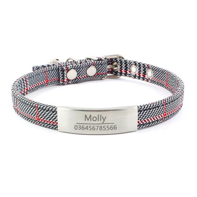 Cotton Personalised Adjustable Collar With Engraved Buckle