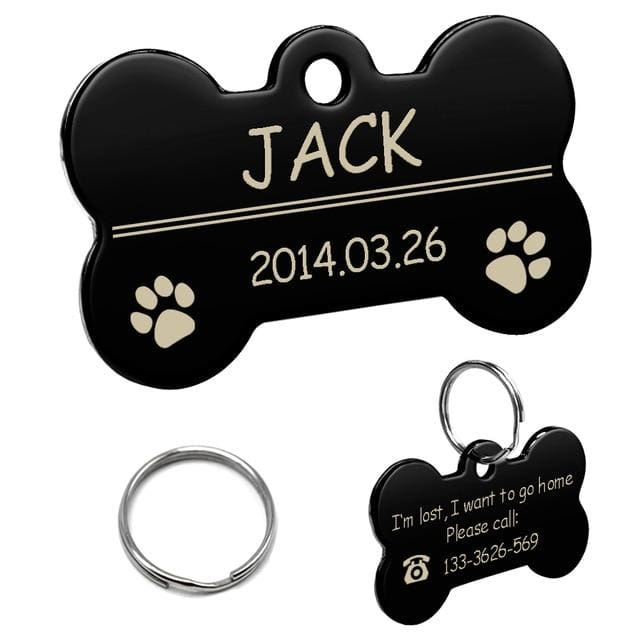Stainless Steel Personalized Lost Dog Tag - Black bone / L