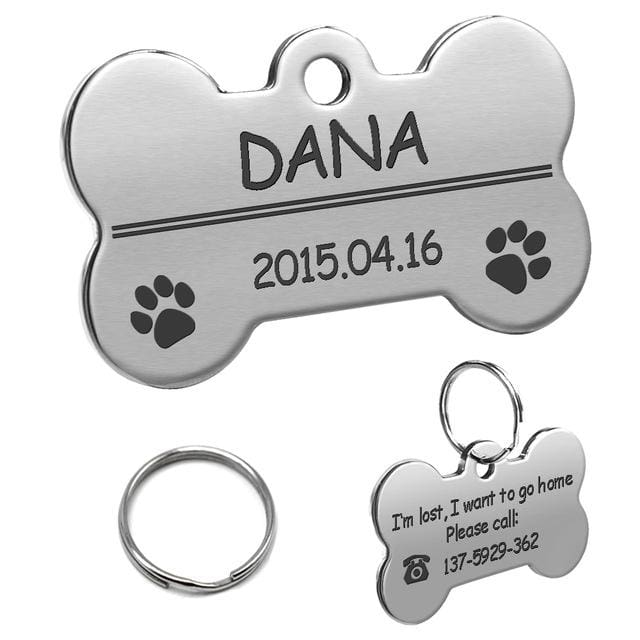 Stainless Steel Personalized Lost Dog Tag - Silver bone / L