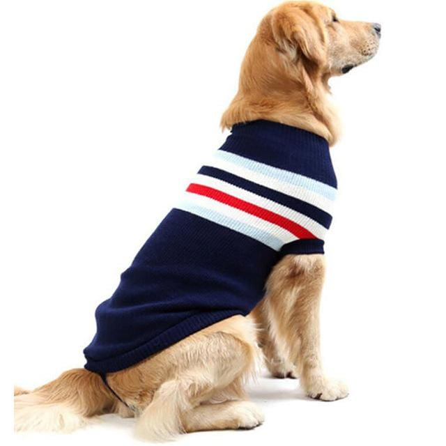 Striped Comfortable Cotton Sweater for all sized dogs - navy / Size 12