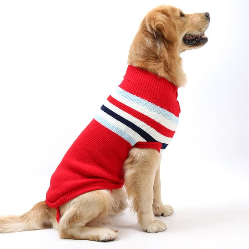 Striped Comfortable Cotton Sweater for all sized dogs - red / Size 12