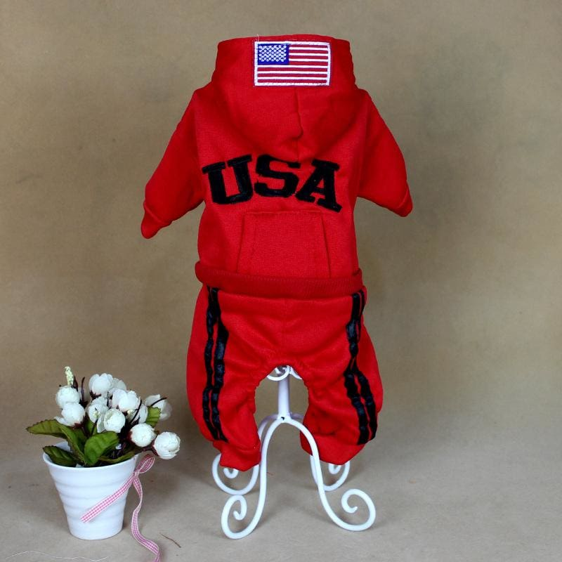 Team USA Jumpsuit - red / L - Dog Clothes