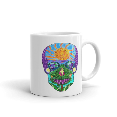 Tropical Sunset Sugar Skull Mug