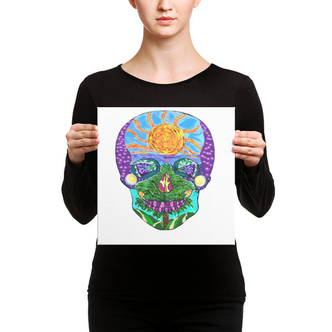 Tropical Sunset Sugar Skull Art Canvas