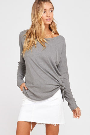 Rita Ribbed Side Long Sleeve Shirt Top