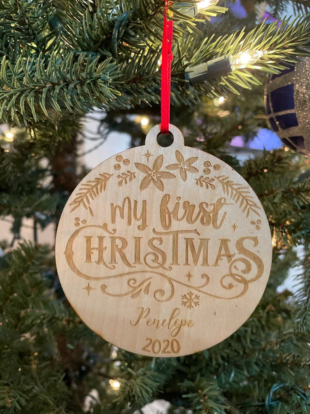 Personalized My First Christmas Laser Cut Wooden Ornament