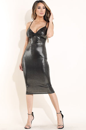Jenny Foiled Rib Knotted Front Midi Dress