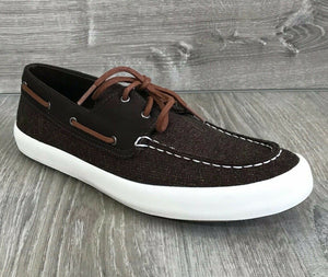 NIB SPERRY Men's Wahoo 2-Eye Multi-Knit Boat Shoes, Brown 9.5US