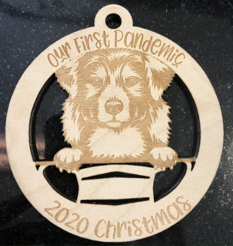 Our First Pandemic Australian Shepherd Quarantine 2020 Laser Cut Wooden Ornament