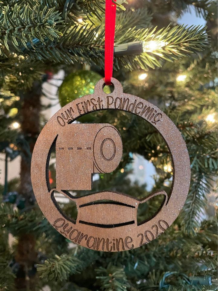 Our First Pandemic Quarantine 2020 Laser Cut Glitter Wooden Ornament